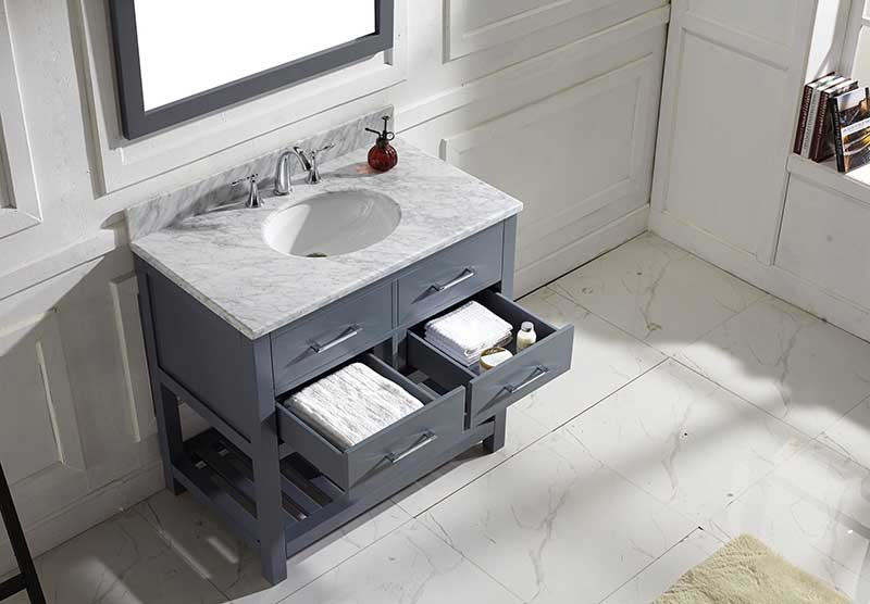 Virtu USA Caroline Estate 36 Single Bathroom Vanity Set in Grey 4