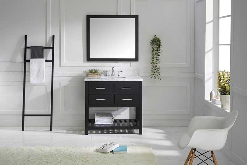 Virtu USA Caroline Estate 36 Single Bathroom Vanity Set in Espresso