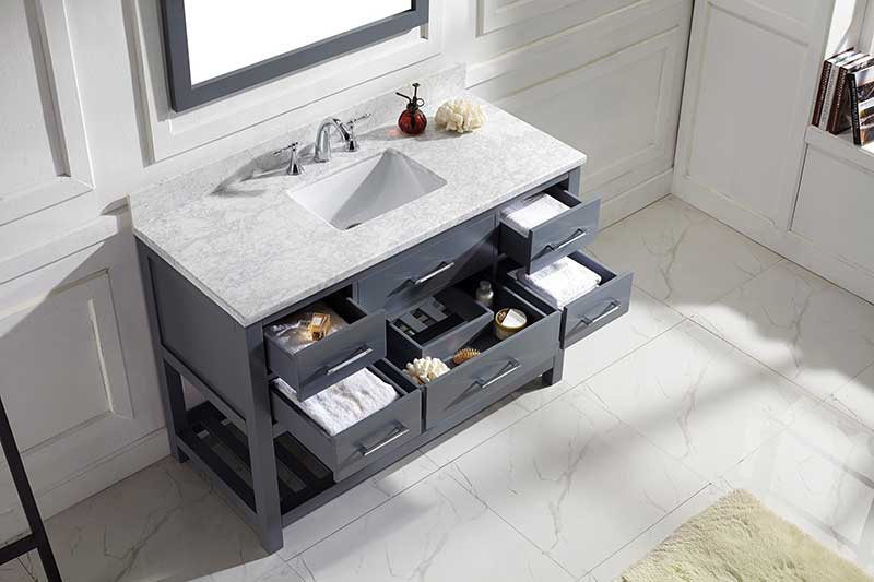 Virtu USA Caroline Estate 48 Single Bathroom Vanity Set in Grey 4