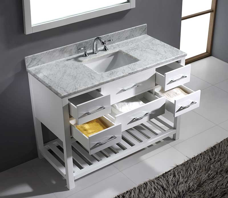 Virtu USA Caroline Estate 48 Single Bathroom Vanity Set in White 4