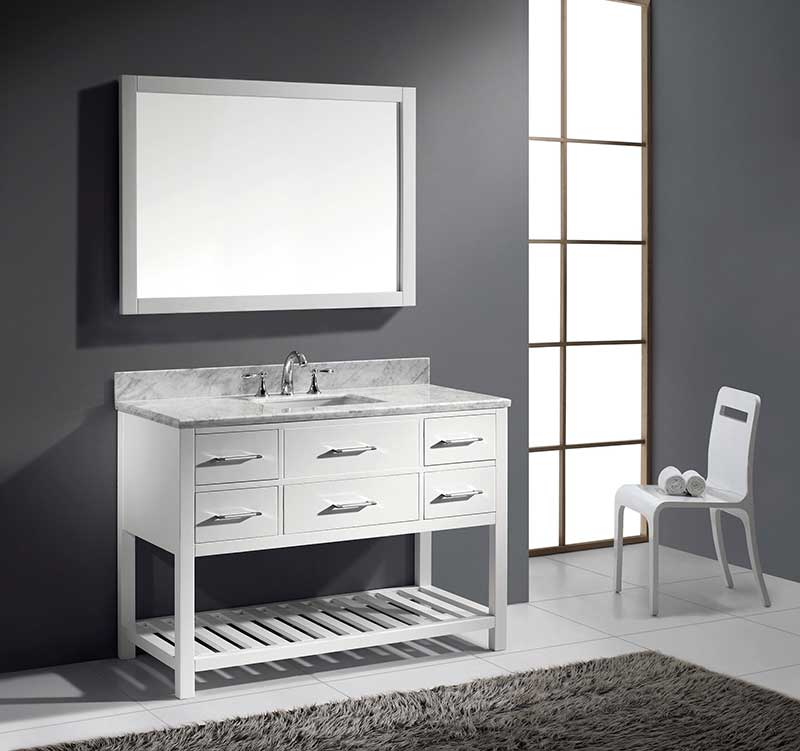 Virtu USA Caroline Estate 48 Single Bathroom Vanity Set in White 6