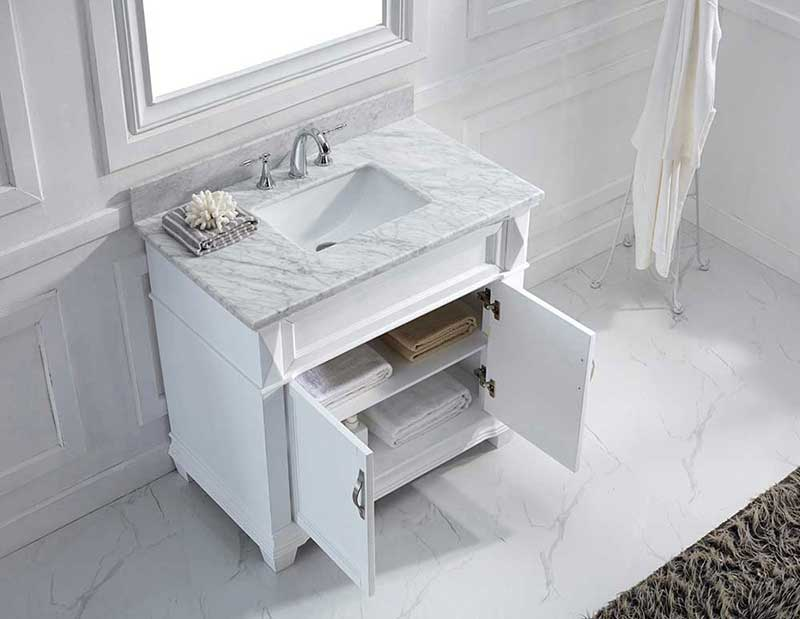"Virtu USA Victoria 36"" Single Bathroom Vanity Cabinet Set in Grey"