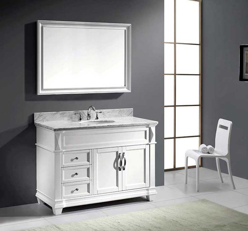 "Virtu USA Victoria 48"" Single Bathroom Vanity Cabinet Set in Grey 3"