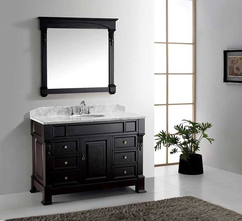 "Virtu USA Huntshire Manor 48"" Single Bathroom Vanity Cabinet Set in Grey"