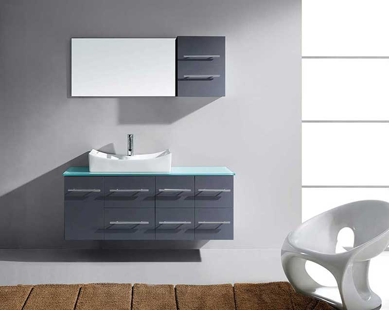 "Virtu USA Ceanna 55"" Single Bathroom Vanity Cabinet Set in Grey"