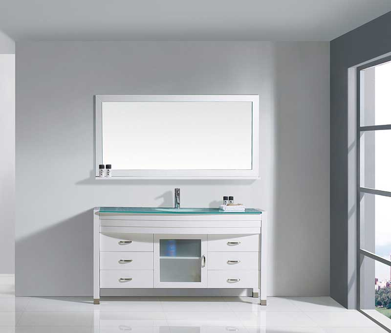 Virtu USA Ava 61 Single Bathroom Vanity Set in White