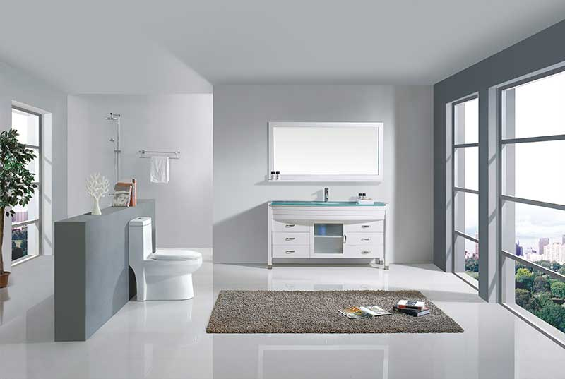 Virtu USA Ava 61 Single Bathroom Vanity Set in White 2