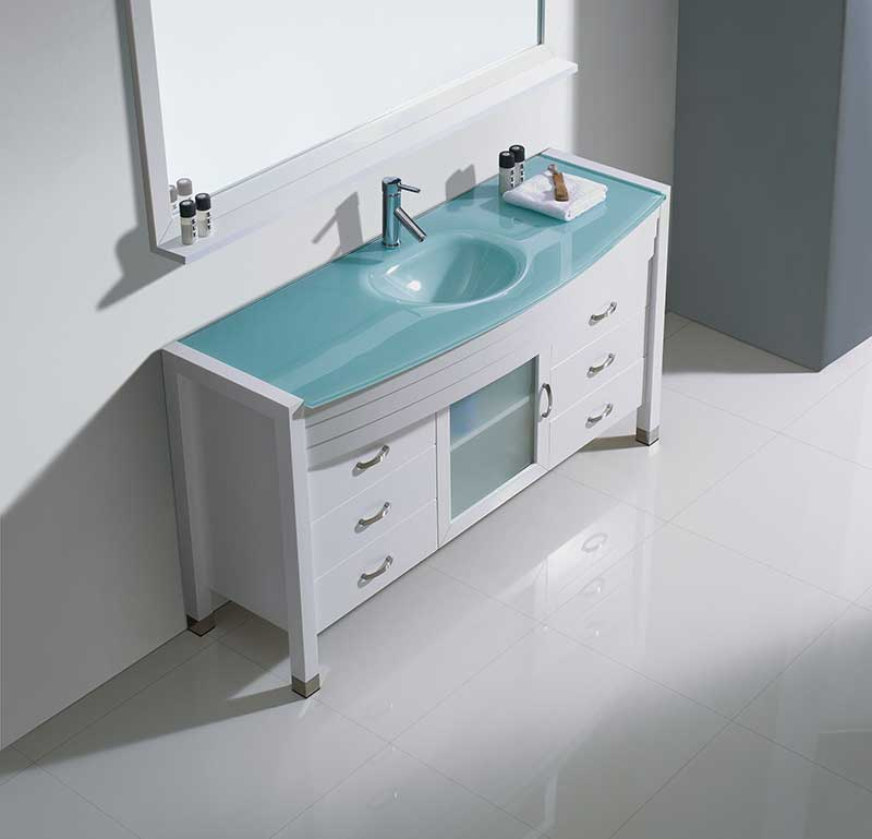 Virtu USA Ava 61 Single Bathroom Vanity Set in White 4