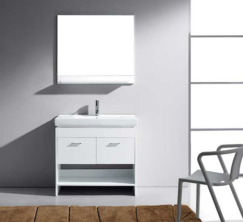 "Virtu USA Glora 36"" Single Bathroom Vanity Cabinet Set in White"