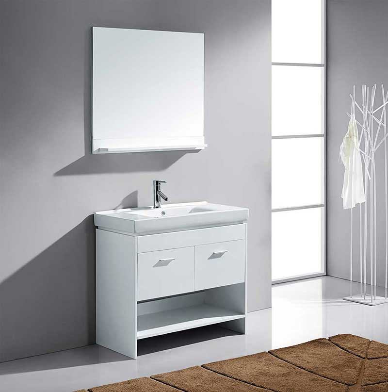 "Virtu USA Glora 36"" Single Bathroom Vanity Cabinet Set in White 2"