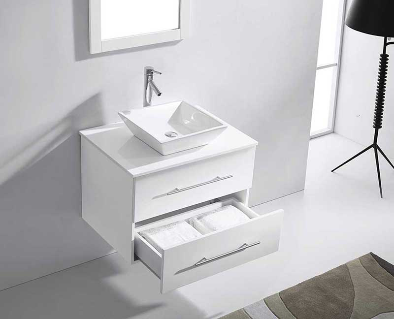 "Virtu USA Marsala 29"" Single Bathroom Vanity Cabinet Set in White 3"