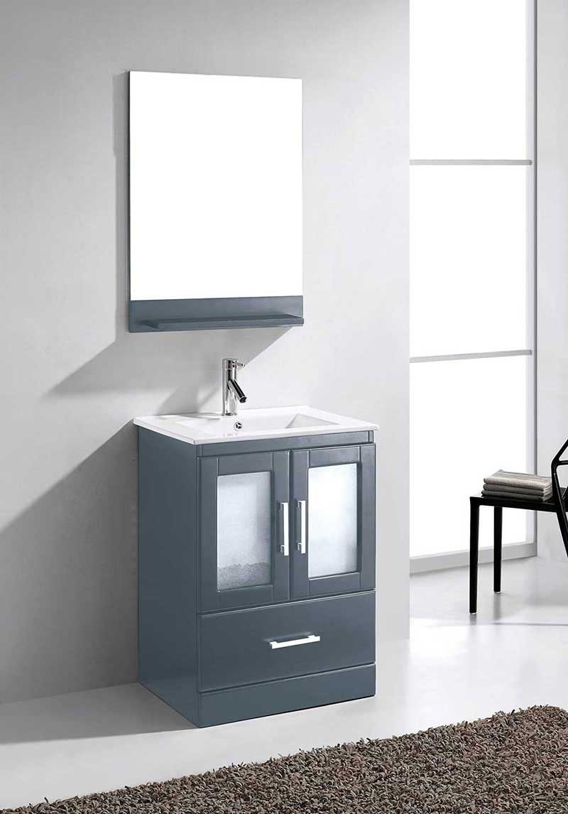 "Virtu USA Zola 24"" Single Bathroom Vanity Cabinet Set in Grey 2"