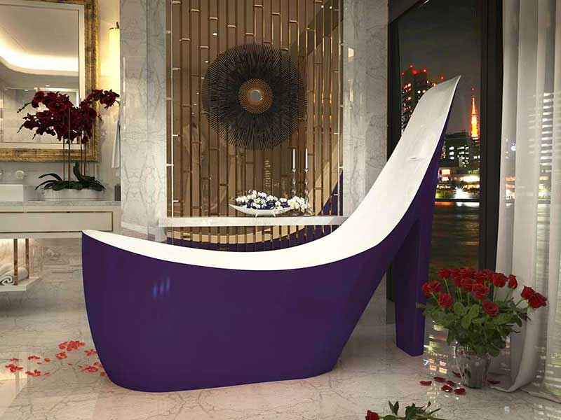 Anzzi Gala 6.7 ft. Acrylic Freestanding Non-Whirlpool Bathtub in Violet and Sol Series Faucet in Chrome 3