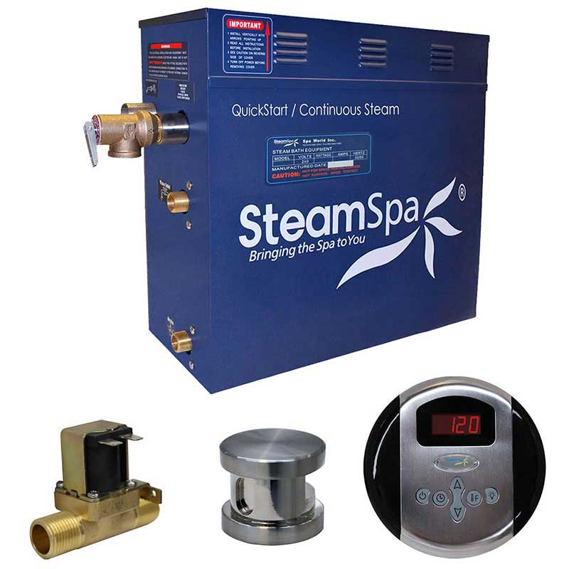 SteamSpa Oasis 9 KW QuickStart Acu-Steam Bath Generator Package with Built-in Auto Drain in Brushed Nickel