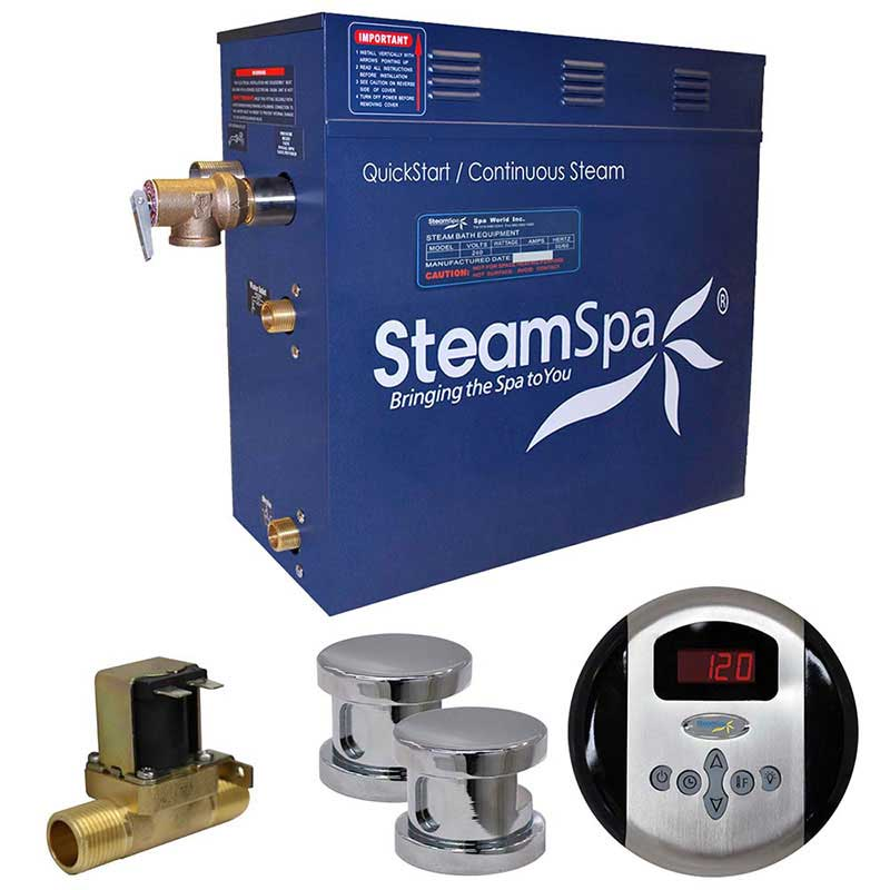 SteamSpa Oasis 10.5 KW QuickStart Acu-Steam Bath Generator Package with Built-in Auto Drain in Polished Chrome