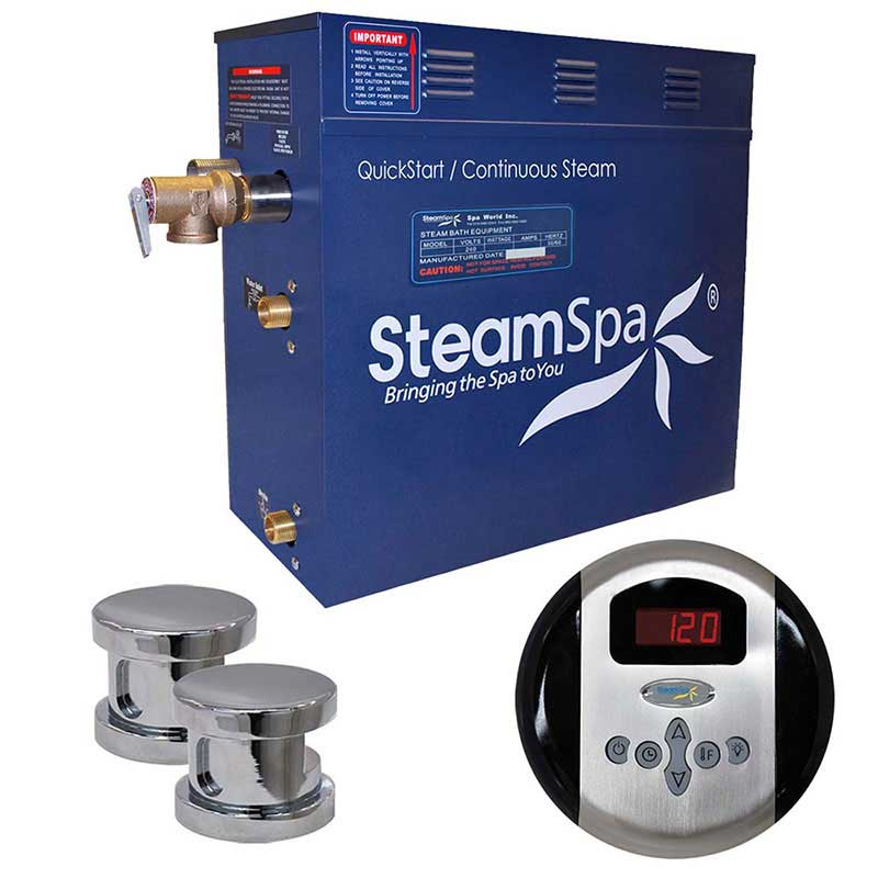 SteamSpa Oasis 12 KW QuickStart Acu-Steam Bath Generator Package in Polished Chrome