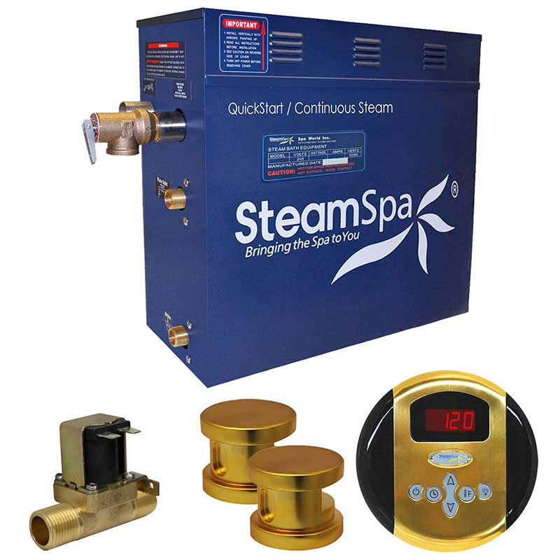 SteamSpa Oasis 12 KW QuickStart Acu-Steam Bath Generator Package with Built-in Auto Drain in Polished Gold