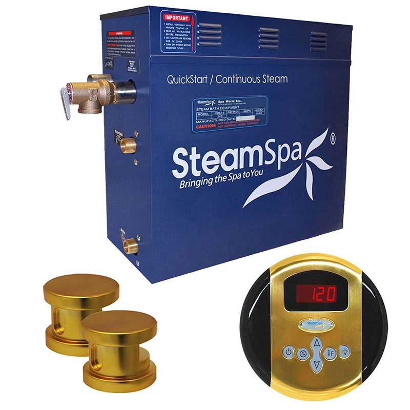SteamSpa Oasis 10.5 KW QuickStart Acu-Steam Bath Generator Package in Polished Gold
