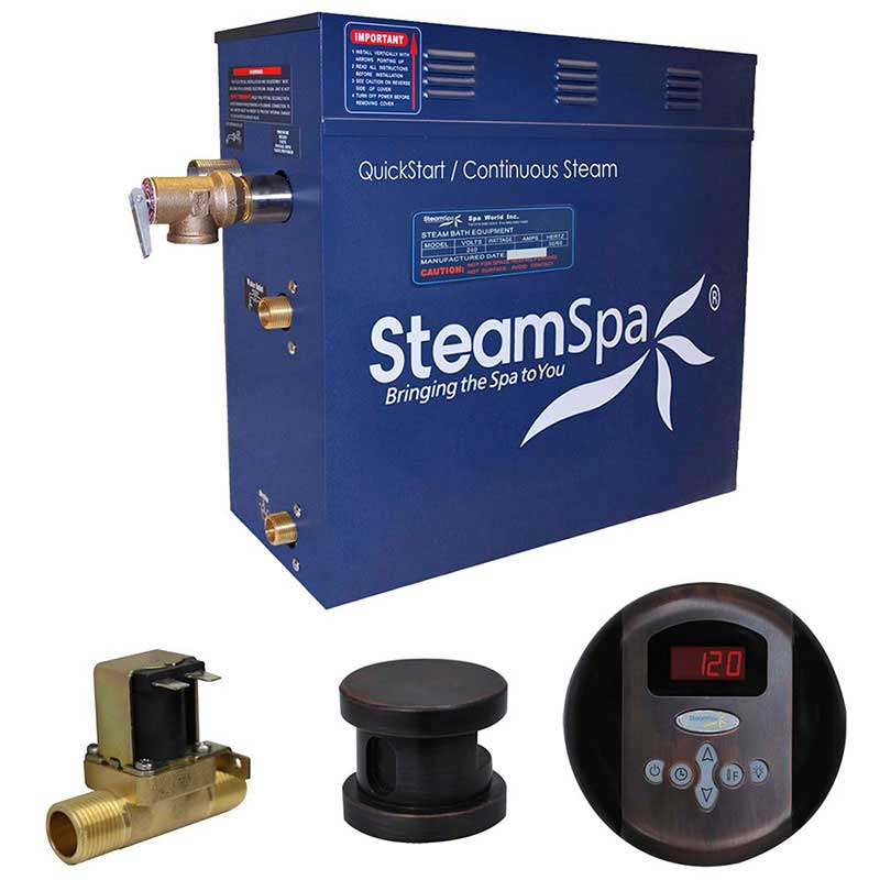 SteamSpa Oasis 6 KW QuickStart Acu-Steam Bath Generator Package with Built-in Auto Drain in Oil Rubbed Bronze