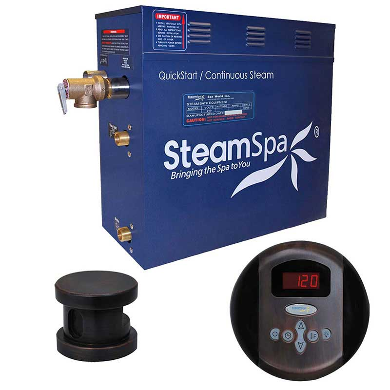SteamSpa Oasis 7.5 KW QuickStart Acu-Steam Bath Generator Package in Oil Rubbed Bronze