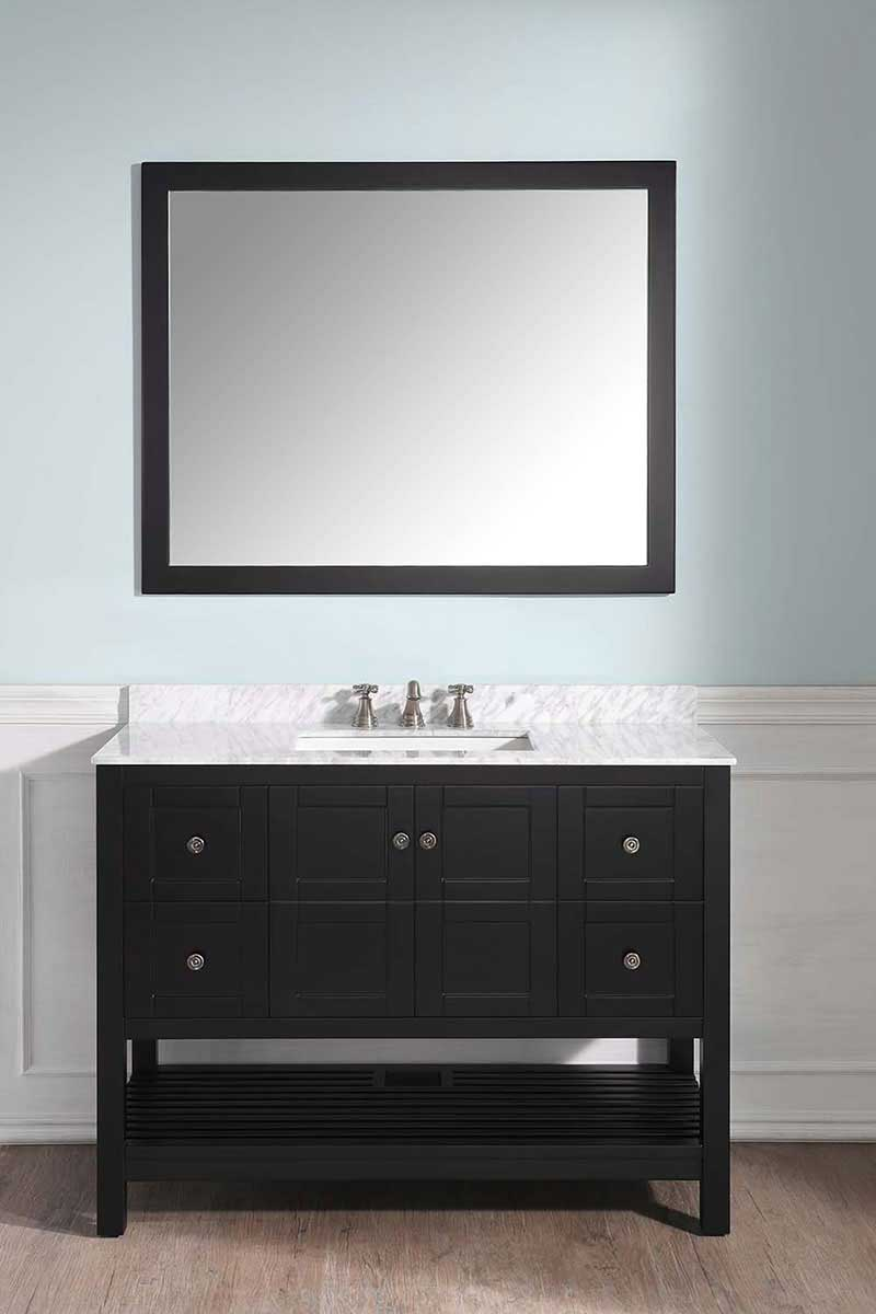 Anzzi Montaigne 48 in. W x 22 in. D Vanity in Espresso with Marble Vanity Top in Carrara White with White Basin and Mirror 4