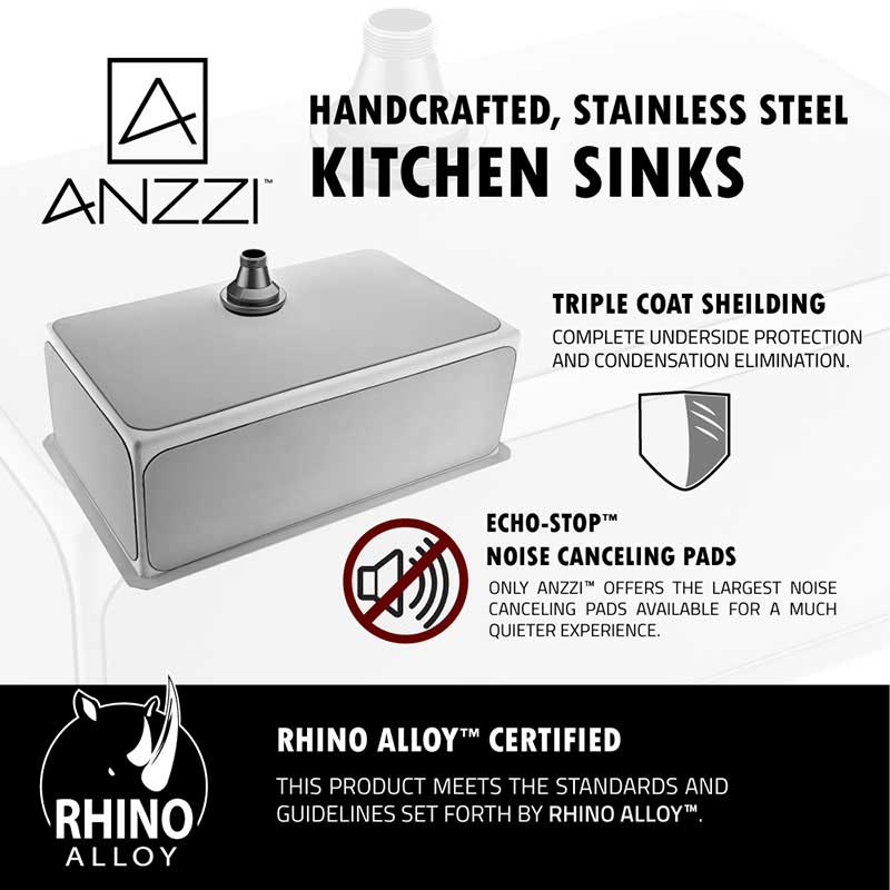 Anzzi VANGUARD Undermount Stainless Steel 30 in. Single Bowl Kitchen Sink and Faucet Set with Singer Faucet in Polished Chrome 6