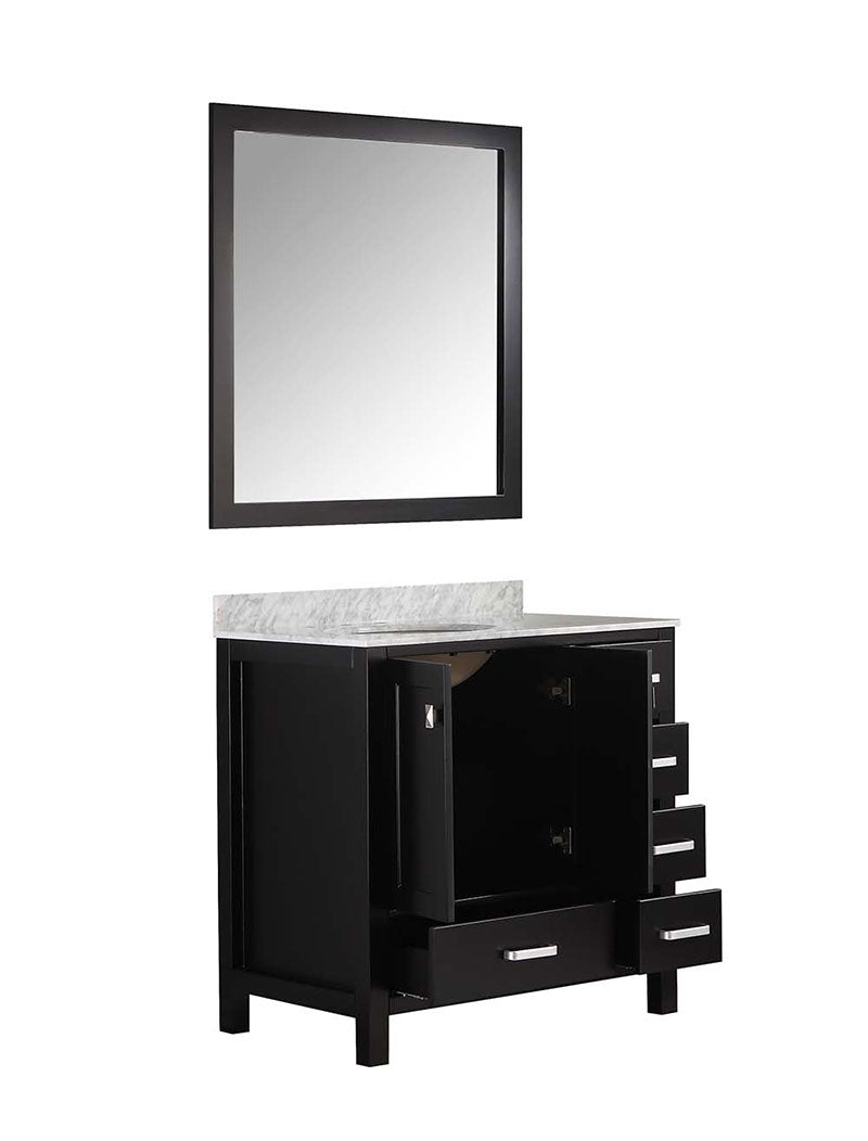 Anzzi Chateau 36 in. W x 22 in. D Vanity in Espresso with Marble Vanity Top in Carrara White with White Basin and Mirror 17