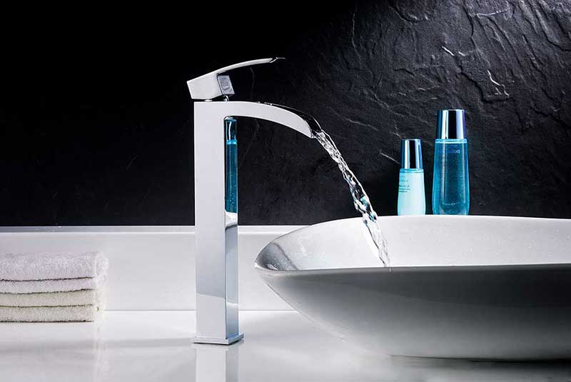 Anzzi Meno Series Deco-Glass Vessel Sink in Lustrous Blue with Key Faucet in Polished Chrome 3