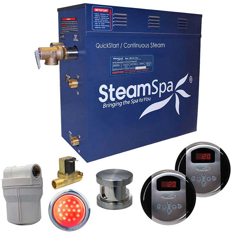 SteamSpa Royal 7.5 KW QuickStart Acu-Steam Bath Generator Package with Built-in Auto Drain in Brushed Nickel