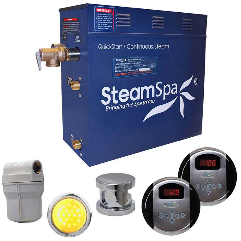 SteamSpa Royal 7.5 KW QuickStart Acu-Steam Bath Generator Package in Brushed Nickel