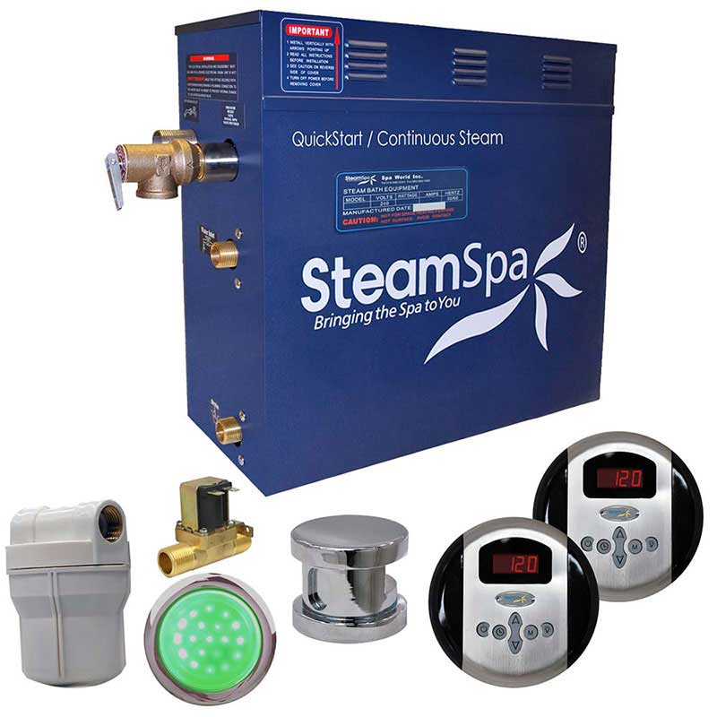 SteamSpa Royal 4.5 KW QuickStart Acu-Steam Bath Generator Package with Built-in Auto Drain in Polished Chrome
