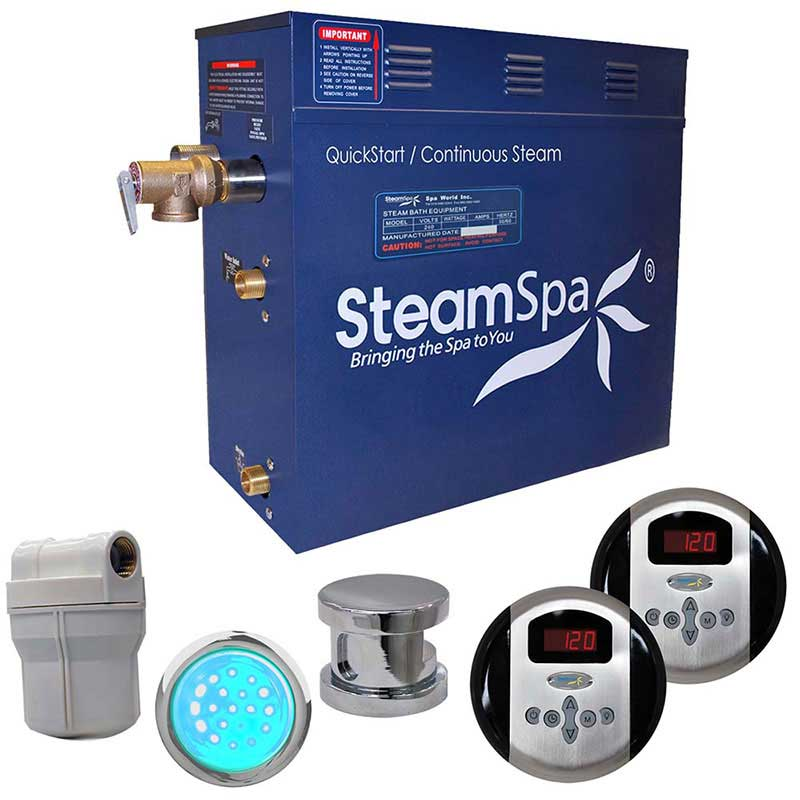 SteamSpa Royal 7.5 KW QuickStart Acu-Steam Bath Generator Package in Polished Chrome