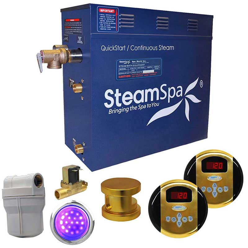 SteamSpa Royal 4.5 KW QuickStart Acu-Steam Bath Generator Package with Built-in Auto Drain in Polished Gold