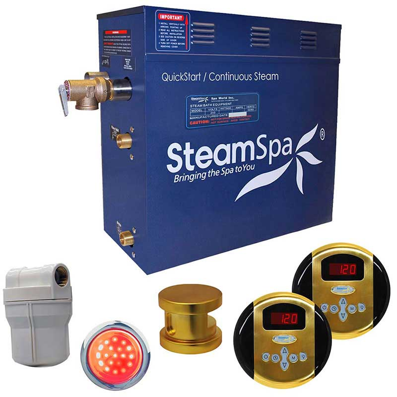 SteamSpa Royal 9 KW QuickStart Acu-Steam Bath Generator Package in Polished Gold