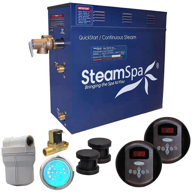 SteamSpa Royal 10.5 KW QuickStart Acu-Steam Bath Generator Package with Built-in Auto Drain in Oil Rubbed Bronze
