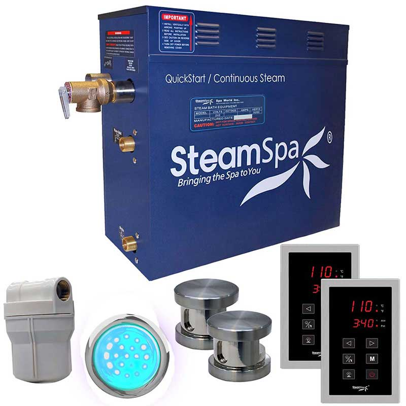SteamSpa Royal 12 KW QuickStart Acu-Steam Bath Generator Package in Brushed Nickel