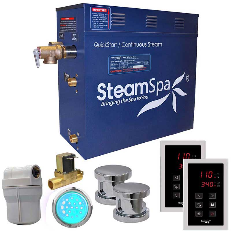 SteamSpa Royal 12 KW QuickStart Acu-Steam Bath Generator Package with Built-in Auto Drain in Polished Chrome