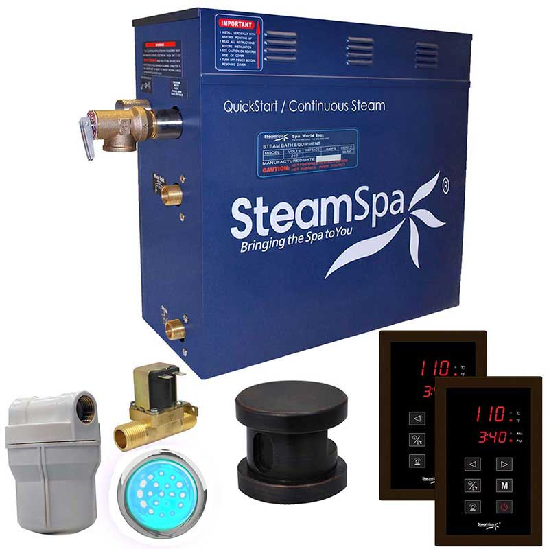 SteamSpa Royal 7.5 KW QuickStart Acu-Steam Bath Generator Package with Built-in Auto Drain in Oil Rubbed Bronze