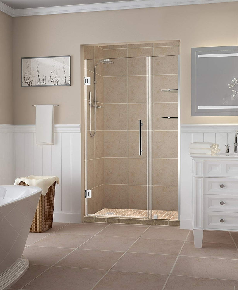Aston Belmore GS 54.25 in. to 55.25 in. x 72 in. Frameless Hinged Shower Door with Glass Shelves in Chrome