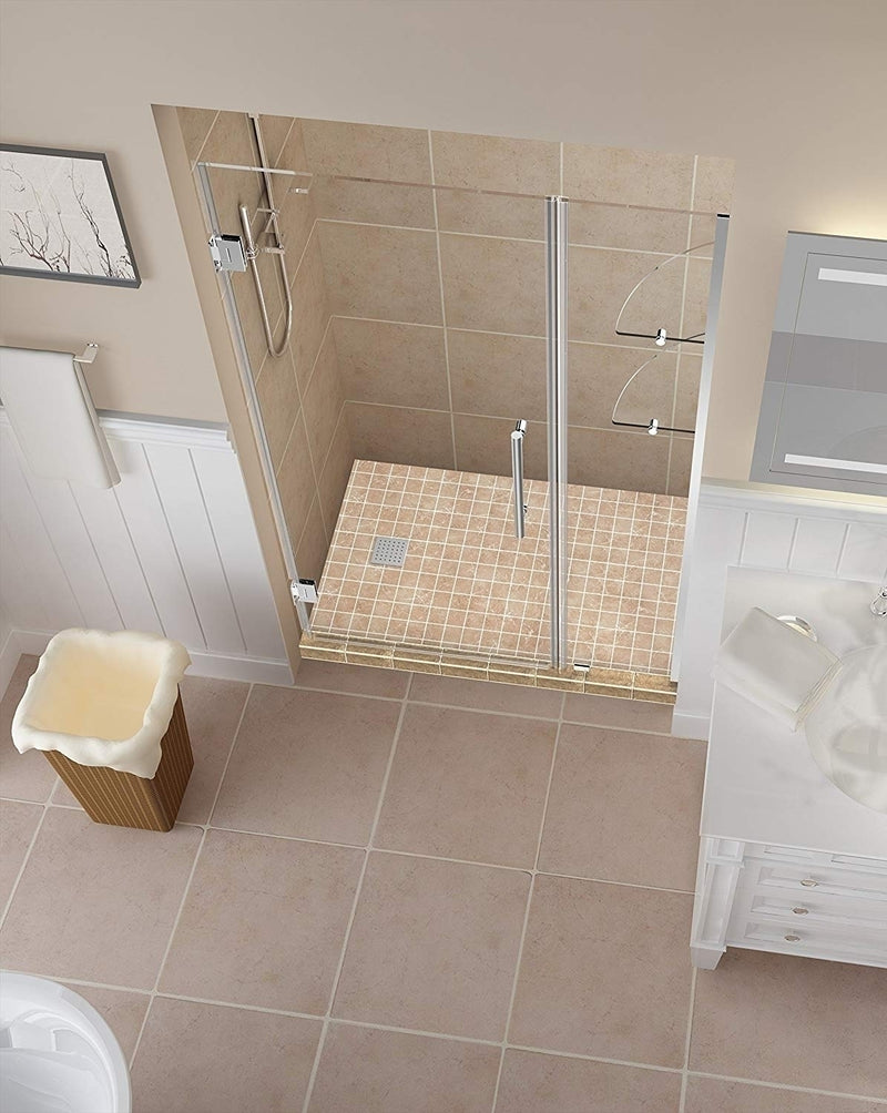 Aston Belmore GS 54.25 in. to 55.25 in. x 72 in. Frameless Hinged Shower Door with Glass Shelves in Chrome 2