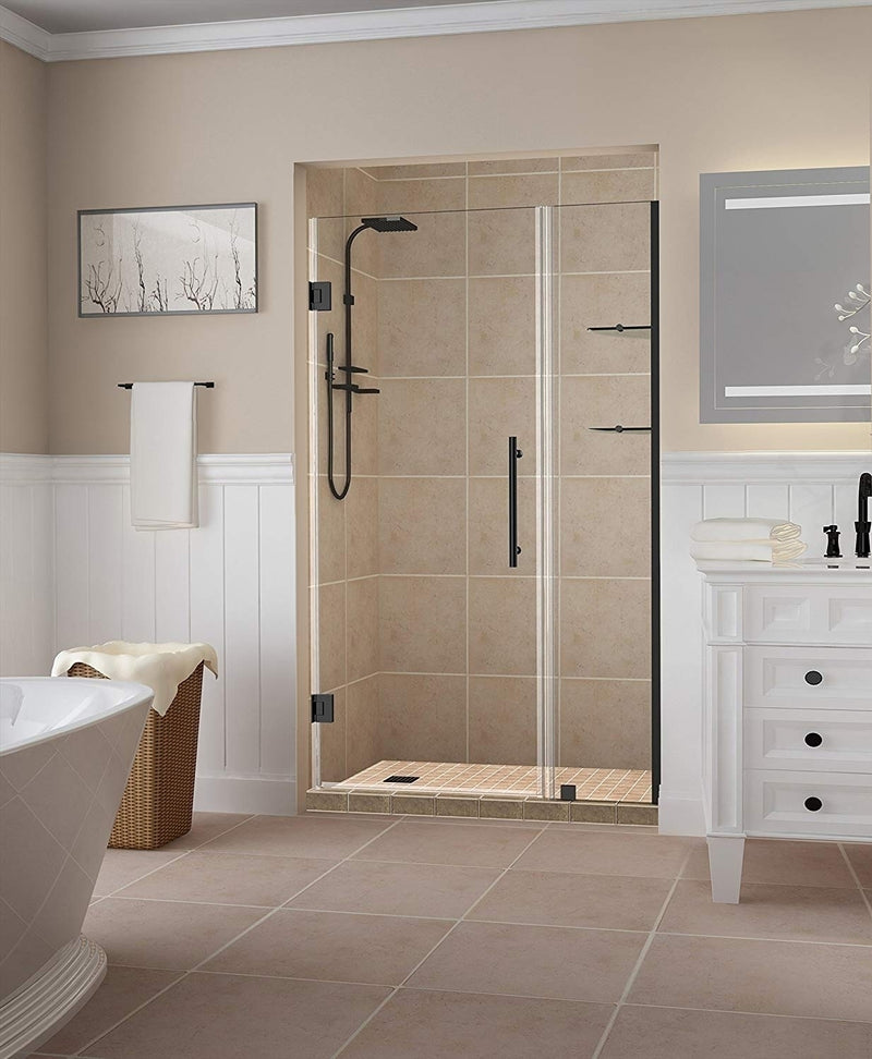 Aston Belmore GS 36.25 in. to 37.25 in. x 72 in. Frameless Hinged Shower Door with Glass Shelves in Oil Rubbed Bronze