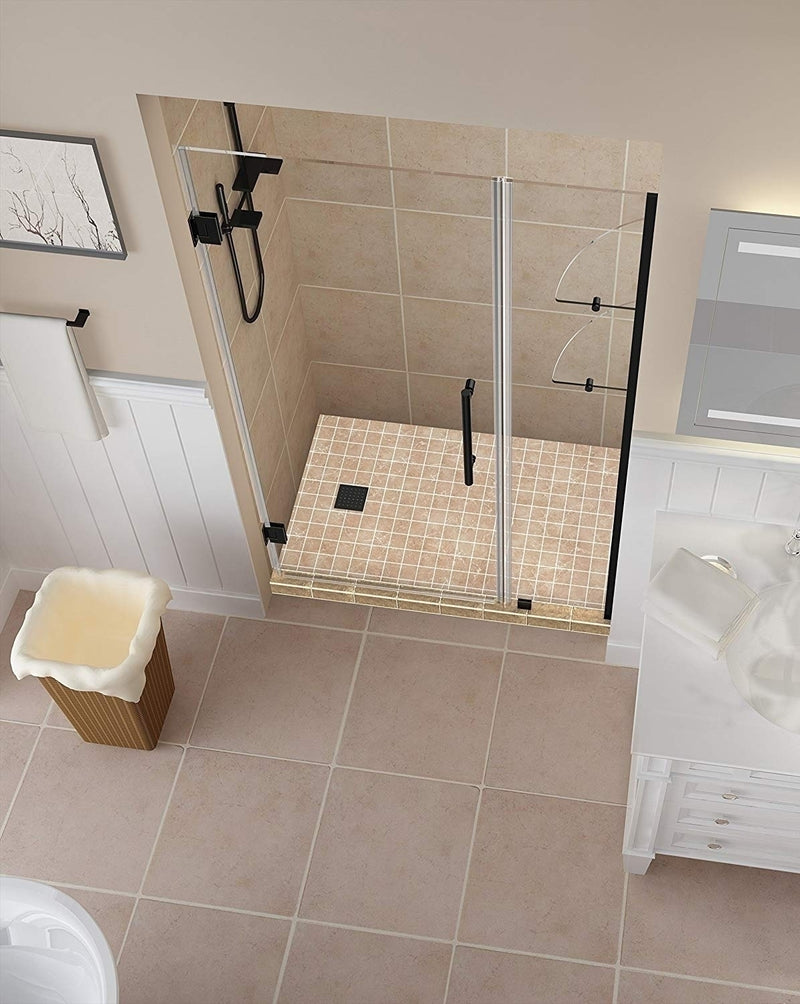 Aston Belmore GS 36.25 in. to 37.25 in. x 72 in. Frameless Hinged Shower Door with Glass Shelves in Oil Rubbed Bronze 2