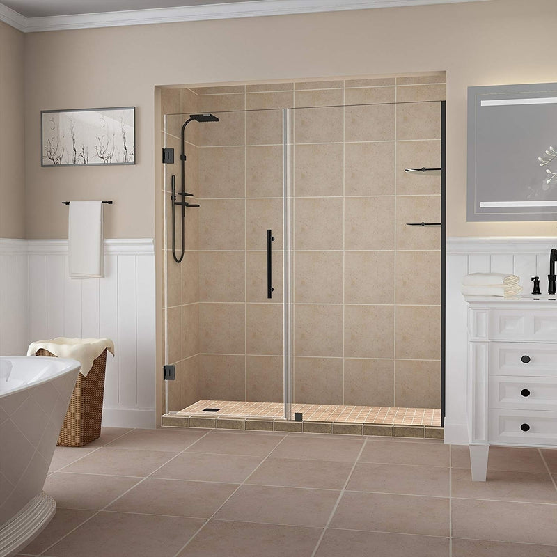 Aston Belmore GS 62.25 in. to 63.25 in. x 72 in. Frameless Hinged Shower Door with Glass Shelves in Oil Rubbed Bronze