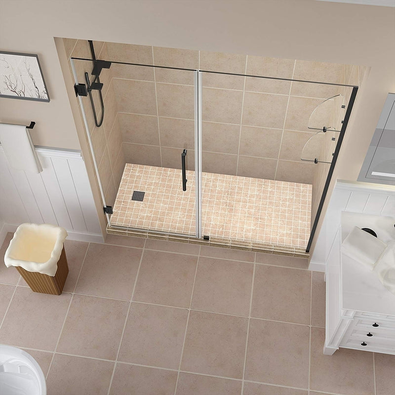 Aston Belmore GS 62.25 in. to 63.25 in. x 72 in. Frameless Hinged Shower Door with Glass Shelves in Oil Rubbed Bronze 2