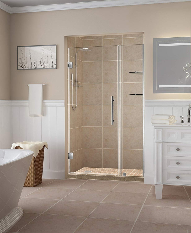 Aston Belmore GS 53.25 in. to 54.25 in. x 72 in. Frameless Hinged Shower Door with Glass Shelves in Stainless Steel