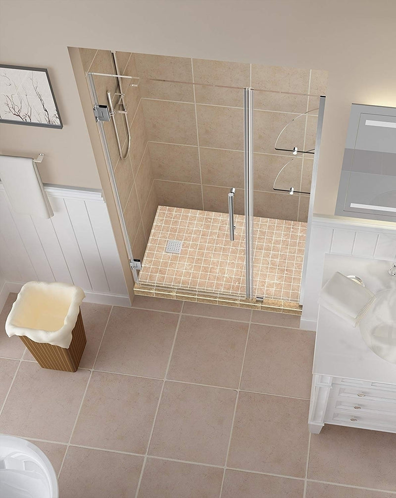 Aston Belmore GS 53.25 in. to 54.25 in. x 72 in. Frameless Hinged Shower Door with Glass Shelves in Stainless Steel 2