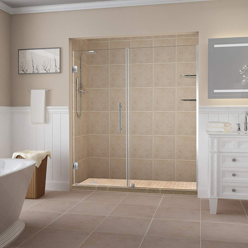 Aston Belmore GS 64.25 in. to 65.25 in. x 72 in. Frameless Hinged Shower Door with Glass Shelves in Stainless Steel