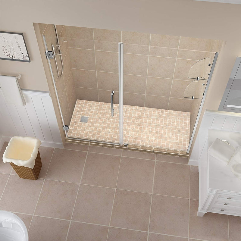 Aston Belmore GS 64.25 in. to 65.25 in. x 72 in. Frameless Hinged Shower Door with Glass Shelves in Stainless Steel 2
