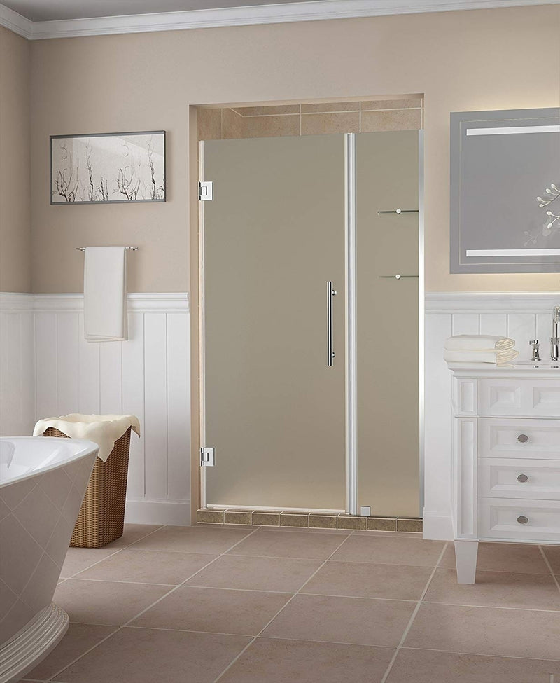 Aston Belmore GS 53.25 in. to 54.25 in. x 72 in. Frameless Hinged Shower Door with Frosted Glass and Glass Shelves in Chrome