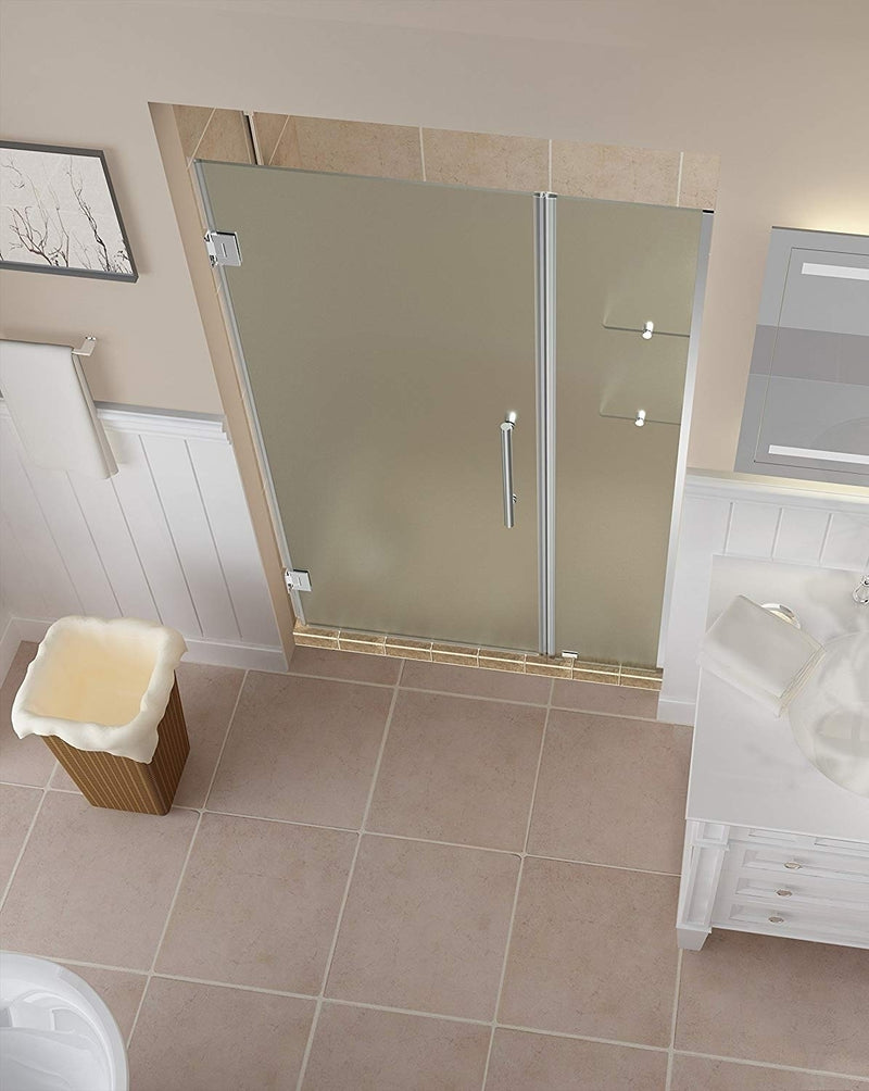 Aston Belmore GS 53.25 in. to 54.25 in. x 72 in. Frameless Hinged Shower Door with Frosted Glass and Glass Shelves in Chrome 2